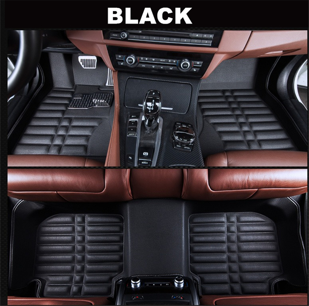 Seven-flower Car Floor Mat Custom Fit All Weather Waterproof Front and Rear Liners for Ford Escape 2013-2014 All Black