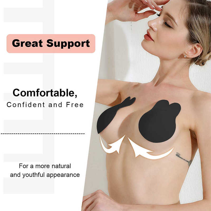 Adhesive Invisible Lifting Comfort Support Backless Tape Bra Black Color