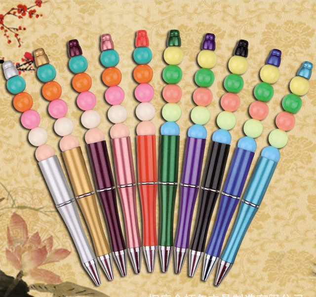 10pcs/lot Plastic Beadable Pen Bead Pens Ballpoint Pen Gift Ball Pen Kids party Personalized Gift Wedding Gift For Guests XMAS 3