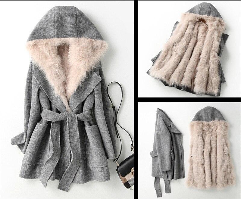 Fur Real Coat Female Natural Fox Fur Liner Woolen Coats Winter Jacket Women Luxury 100% Wool Coat Chaqueta Mujer MY4073 S