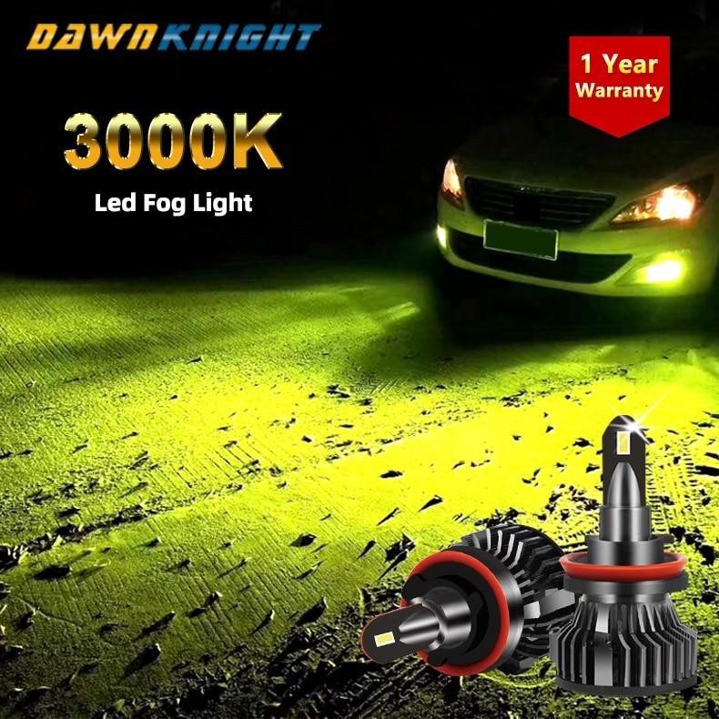 2 шт. H7 желтый 3000 К туман светильник H3 H8 H11 Hb3 9005 Hb4 9006 H1 лампа 4300K 12V 12000LM светодиод Turbo лампы для автомобилей головной светильник