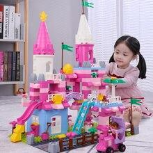 Princesa amigos colorido castelo modelo blocos de construção brinquedos duploed casa tijolos brinquedos educativos para meninas crianças presentes natal