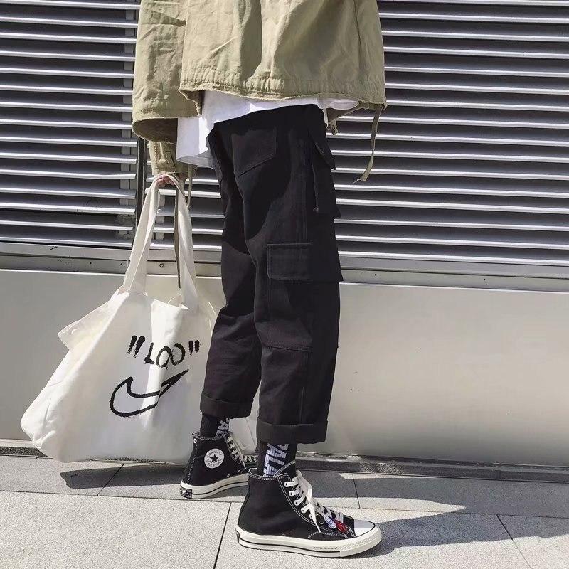 INS Super Fire Bib Overall Men's Korean-style Trend Straight-Cut Pants Summer Loose-Fit Loose Pants Capri Casual Pants