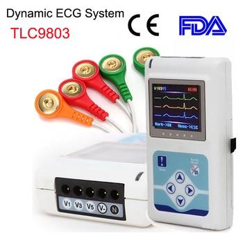 TLC9803 Dynamic ECG Machine Portable 3 Lead Electrocardiograph Handheld EKG Monitor 24 hour HR Analyzer Recorder System CE FDA
