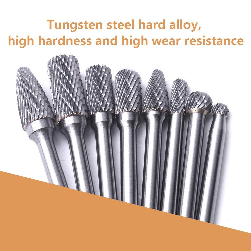 Atoplee 8Pcs / Set 6mm Shank Tungsten Carbide Rotary Burrs Grinding - ابزار دست