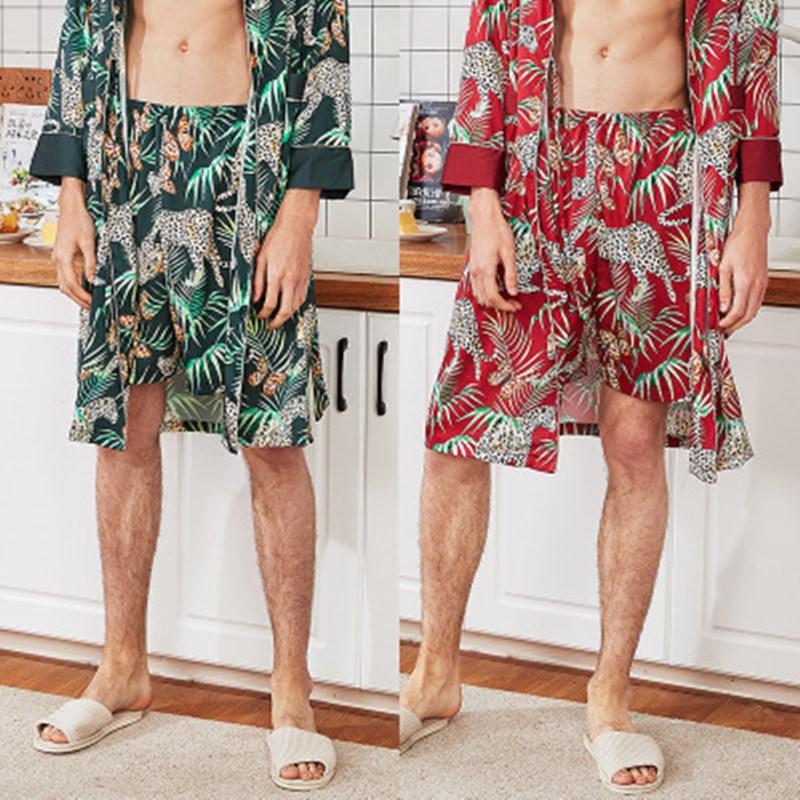 Men Pajamas Short Bottoms Silk Satin Summer Male Pyjama Pijama Verano Hombre Homewear Sleepwear Pantalon Hombre Green Wine Red