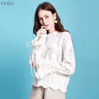 ARTKA 2019 Autumn New Women Sweater Fashion Hollow Mohair Knitted Sweaters O-Neck Pullover Flare Sleeve Wool Sweater YB11798D goplus women s knitted sweater o neck autumn pullovers loose flare sleeve colorful striped pullover coat kleding vrouwen c9503