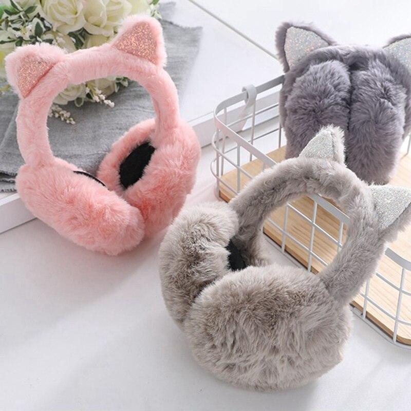 Women Kid Ear Muffs Cute Earmuffs Lovely Cat Ear Winter Headband Ear Warmers