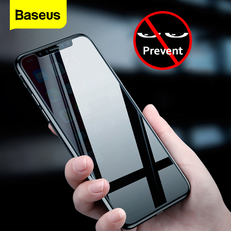 Baseus Privacy Protection Screen Protector For iPhone Xs Max XR X S R Anti-peeping Protective Tempered Glass Film For iPhoneXs(China)