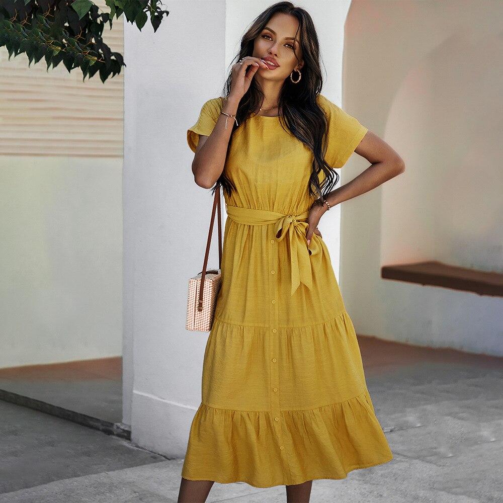 New Ladies Vintage Solid Long Dress Women Casual Slim Fashion Ruffles High Waist Beach Summer Women Dress Female Vestidos Mujer 7
