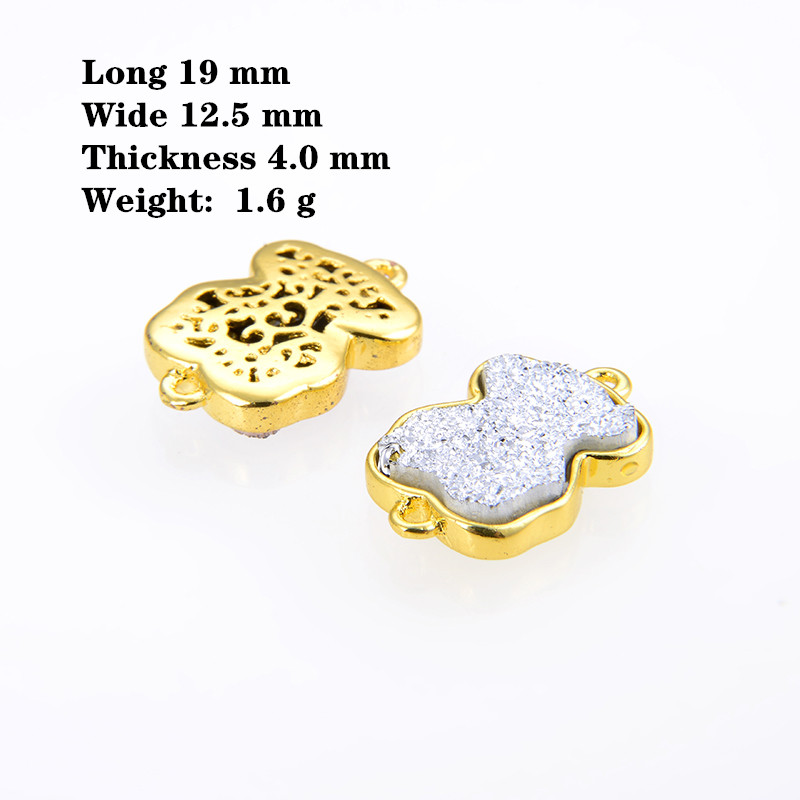 KAMAF 10pcs/pack 19*12.5mm Copper Inlaid Crystal Bud Panda Double Hole Connector For Making Bracelet Necklace Accessories