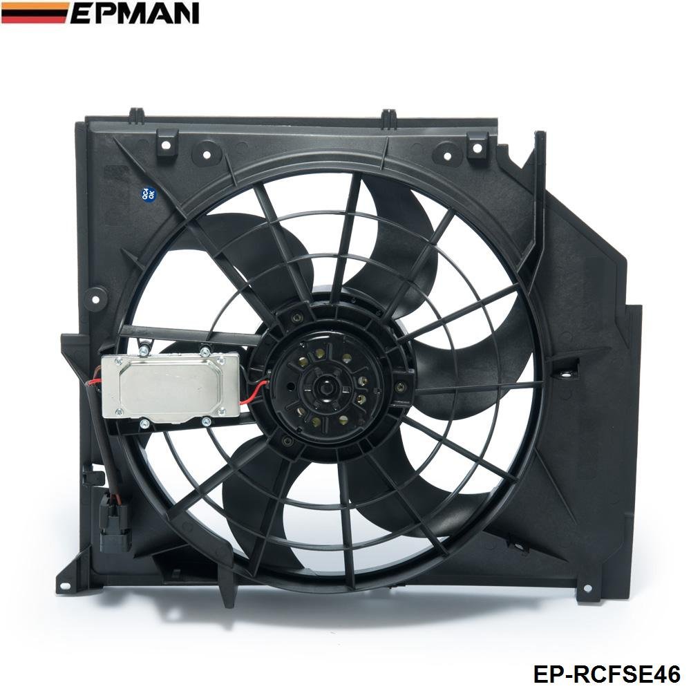 Radiator Condenser <font><b>Cooling</b></font> <font><b>Fan</b></font> (Brushless <font><b>Motor</b></font>) For <font><b>BMW</b></font> 3 Series E46 99-06 325i 328i 330i 17117561757 EP-RCFSE46 image
