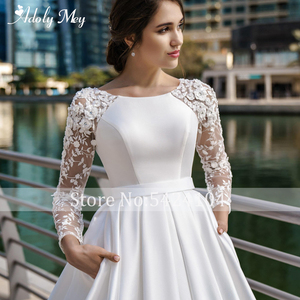 Image 3 - Adoly Mey New Arrival Scoop Neck Button Satin A Line Wedding Dresses 2020 Full Sleeve Appliques Court Train Vintage Wedding Gown
