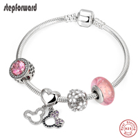 STEP FORWARD 100% 925 Sterling Silver Mickey Minnie Original Bracelets For Women Silver Bracelet Pink Series Flower Charm Bangle