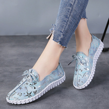 Spring Women Flats Loafers Shoes Genuine Leather Flats Female Shoes Lace Up Loafers Casual Slip-on Walking Shoes Woman genuine leather wedges slip on shoes women flats loafers wedge casual height increasing flat walking shoes plus size 34 40