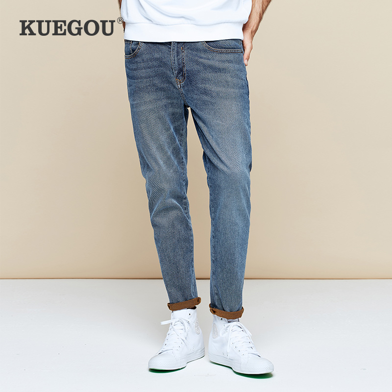 KUEGOU Men's Skinny Jeans Men's Fashion Vintage Wash Old Jeans Men's Pencil Pants Black Pants LK-1783