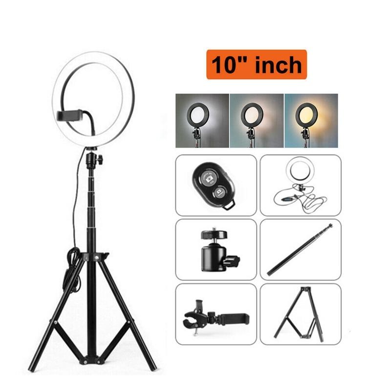 10 Inch LED Ring Light Dimmable Lighting Kit Phone Selfie Tripod Makeup Youtube Live