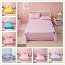 Princess pink  Bedding Sheet 3 pcs King Size Bed Sheet Set for Queen Bed Sheets Frozen Elsa Printed Flat Sheet with Pillowcase bonenjoy 1 piece bed sheet black double queen king size bed linen solid color pillowcase flat sheet for adult sheet sets for bed