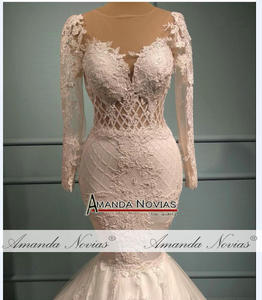 Image 4 - Vestido de casamento com renda sereia, saia destacável 2 em 1 vestidos de casamento