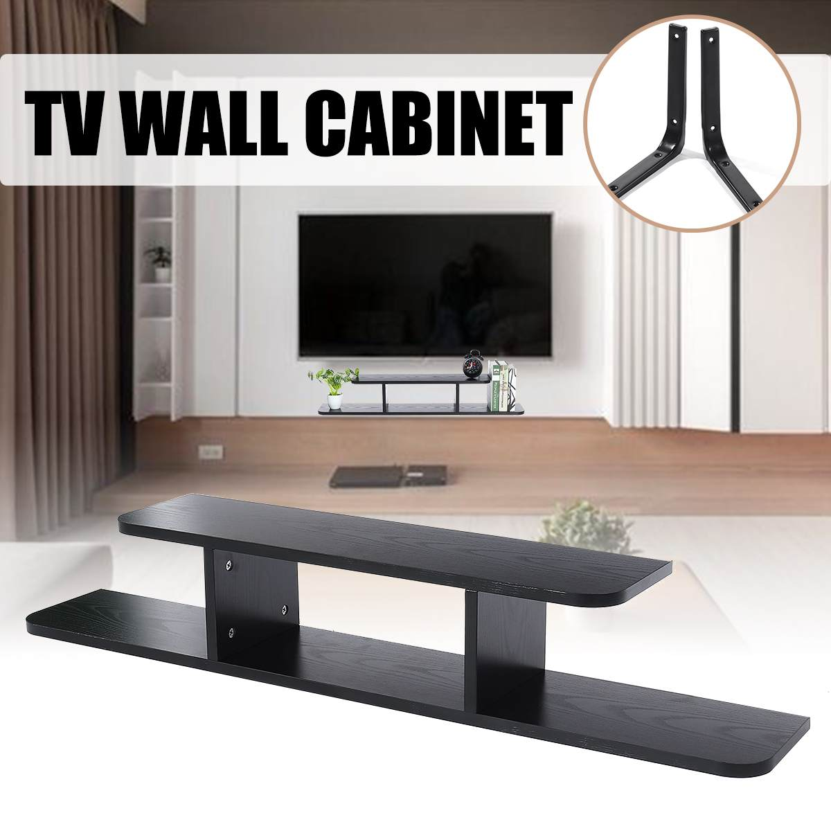 Simple Modern Solid Wood Shelf Rack TV Set Box Shelf Wall Hanging TV Cabinet Decorative Frame