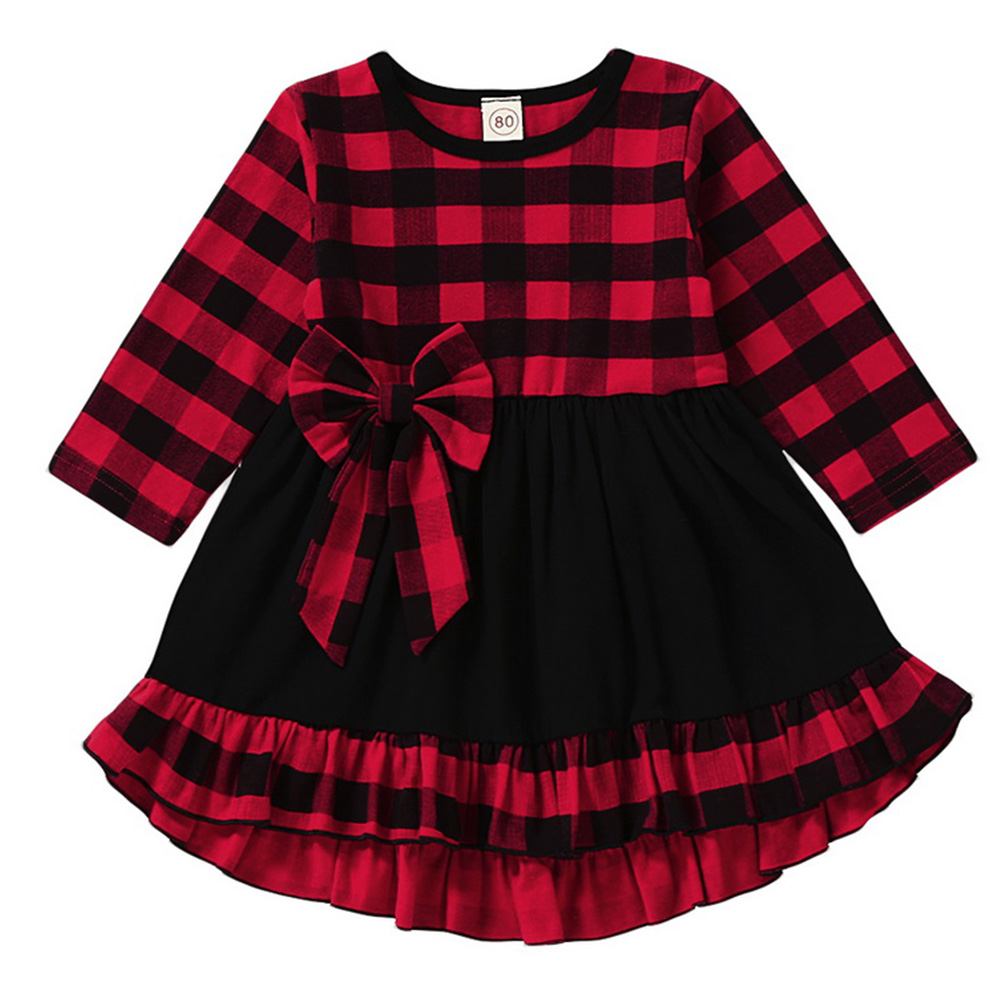 Noël mignon joli enfant en bas âge bébé filles robe de soirée 1-6Y à manches longues volants Plaid genou-longueur une ligne robe rouge vêtements d'automne D20