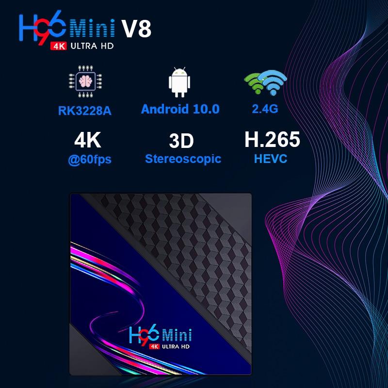 H96 MINI V8 четырехъядерный процессор RK3228A Smart Tv Box Android 10 2,4G Двойной Wi-Fi беспроводной телеприставка медиаплеер