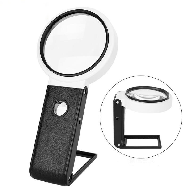3.5X 5X 6X 110mm 90mm 80mm LED USB Desktop Table Lamp Hand-held Magnifier Reading Magnifying Glass for Mobile Phone Repair image