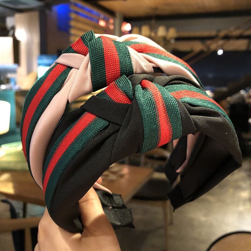 Women's Sports Fashion Style Green-Red Cross-Color Headband Knotted Hoop British Academy Style Striped Wide Edge Hair Band