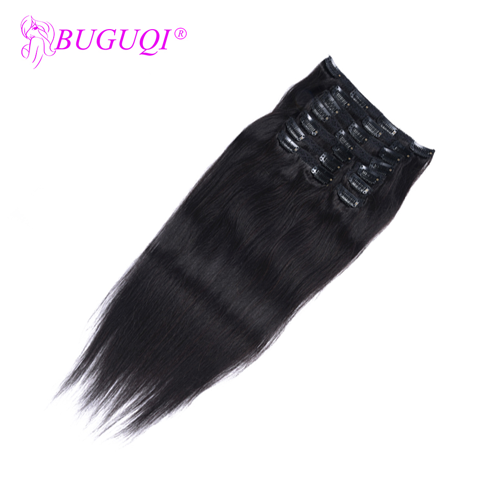 BUGUQI Hair Clip In Human Hair Extensions Indian Natural Black Remy 16-26 Inch 100g Machine Made Clip Human Hair Extensions