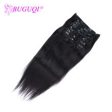 BUGUQI Hair Clip In Human Extensions Indian Natural Black Remy 16-26 Inch 100g Machine Made