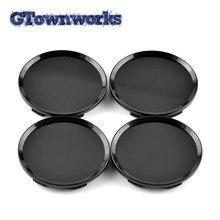 Capuchon de moyeu de roue noir brillant, 4 pièces de 64mm, couvercle central de jante adapté pour 13214660 13117069 09179670 09179671 pour la rénovation de voiture