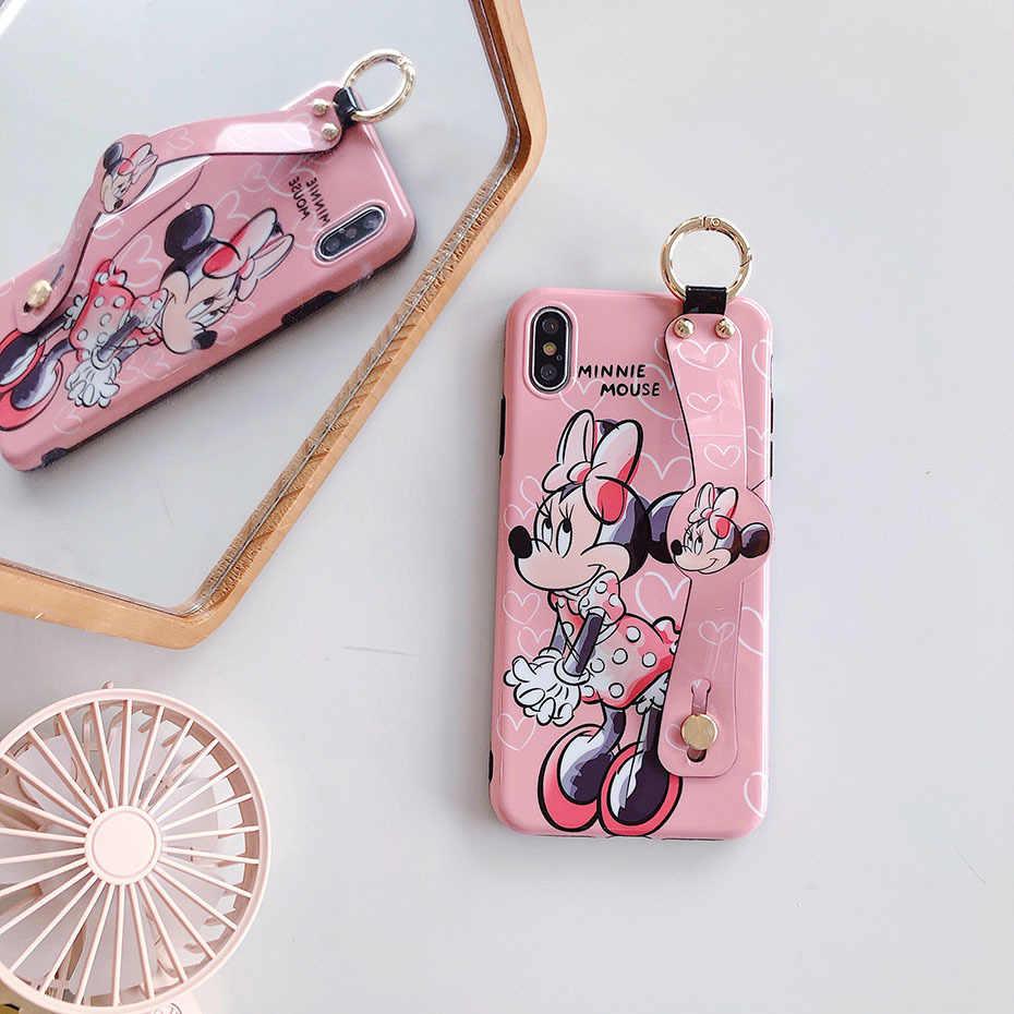 Carino Minnie per il Caso di iPhone 8 7 6 6S Plus 11 pro Carino Cassa Del Telefono Del Fumetto Cinturino Da Polso Staffa caso della copertura per il iPhone XR X XS Max