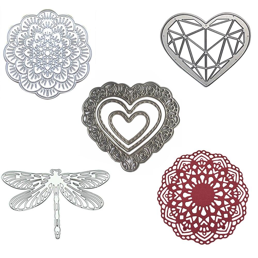Cutting-Dies Metal For Scrapbooking Heart Cutting Dies Flower Stencil DIY Frames Embossing Folder Template Embossing