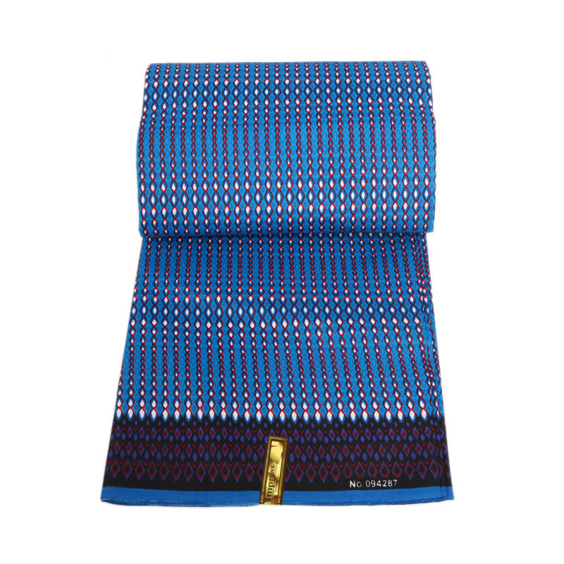 2019 Latest Arrivals African Nigeria Ankara Wax High Quality Wax Blue 100% Polyester Printed Fabric 6Yards