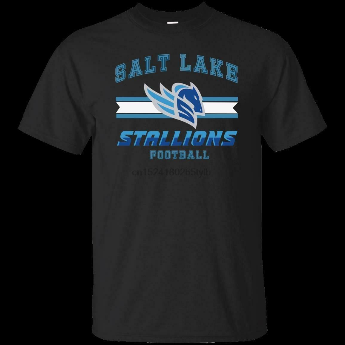 NEW Salt Lake Stallions T-Shirt Alliance America Football Black Navy Cotton Tee