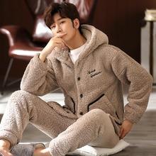 Winter Warm Hooded Pajama Sets Double Sides Thick Flannel Antistatic Male Pajamas Soft Elastic Waist Long Pants Plus Size Pijama