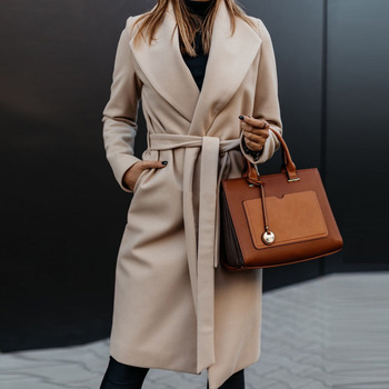 normov casual women woolen coats autumn winter turn down collar long sleeve button wide waisted coat loose solid coats Women Elegant Turn-down Collar Belt Woolen Coat Autumn Winter Casual Slim Long Coats Office Ladies Solid Long Sleeve Open Stitch