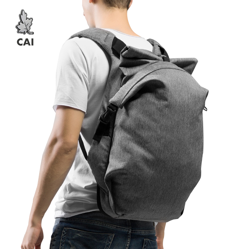 CAI PU <font><b>Unisex</b></font> Waterproof <font><b>Backpack</b></font> for Couple Fold Design Anti-Theft Leather Hasp Travel Bag Laptop Autumn Style Bags rucksack image