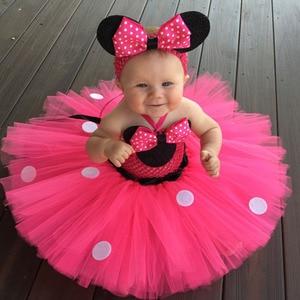 Платье-пачка с Минни для маленьких девочек, праздничный костюм с Минни Маус, повязка на голову с ушками мыши, 5 цветов на выбор, детское плать...