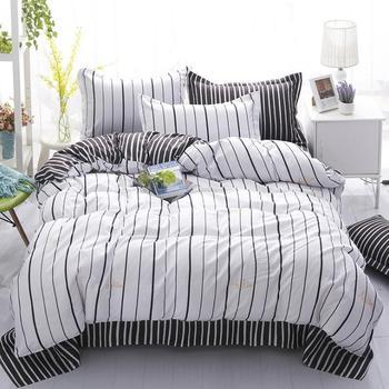 Nero bianco Grigio Classico set di biancheria da letto a righe copripiumino  1