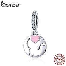 BAMOER – breloque en forme de cœur en argent Sterling 925, chat, chat, authentique, en émail, compatible avec Bracelet Original, accessoires bijoux SCC1140