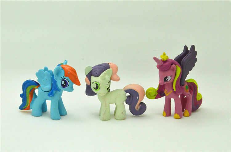 12 stks/set 3-5cm My little pony PVC Regenboog paard schattige kleine paard action speelfiguren poppen voor meisje verjaardag kerstcadeau