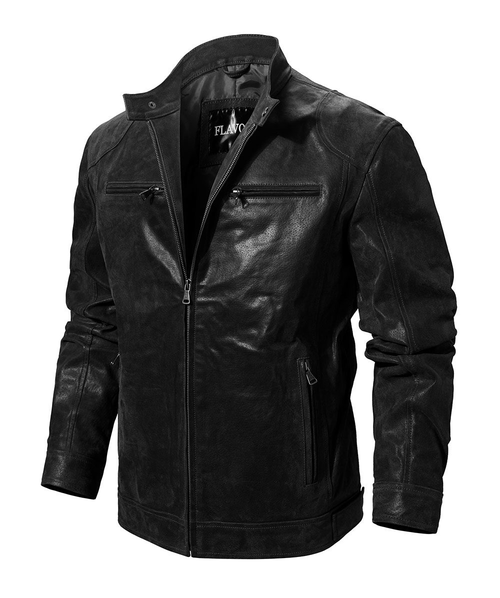 He48d47821a444dc4850e525701eaac32y Men's Pigskin Real Leather Jacket Motorcycle Jacket Coat Men