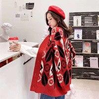 Leaf Jacquard Sweater Female 2019 Winter Loose Korean Long Cardigan Women 2019 Ladies Fall V neck Thick Sweaters Women Coat