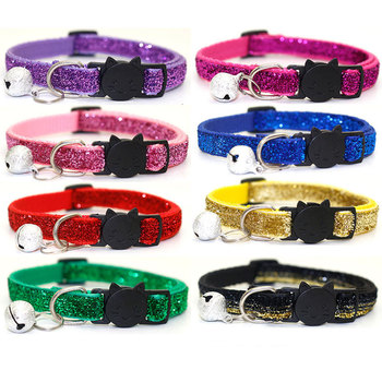 Pet Dog Cat Collar with Bell Adjustable buckle Cat Collars Glitter Sequin Collar Neck strap Dog Supplies for Small Dog Chihuahua image