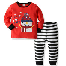 Toddler Kids Baby Girl Snowman T shirt Tops+Stripes Pants Christmas Clothes Set Children's Christmas pajamas Baby Clothes(China)