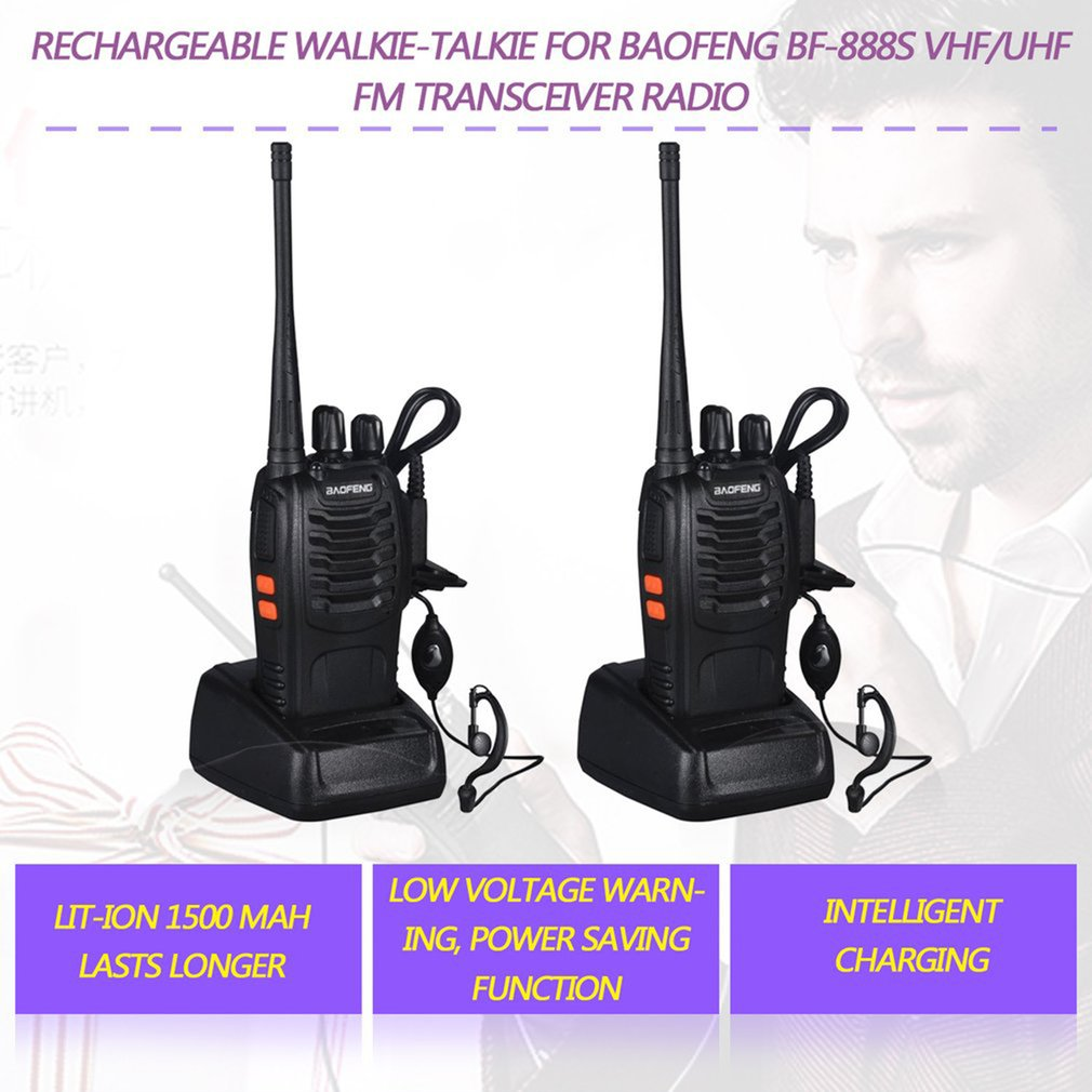2 PCS Baofeng BF-888S Walkie Talkie 5W Two-way Radio Portable CB Radio UHF 400-520MHz  Comunicador Transmitter Transceiver