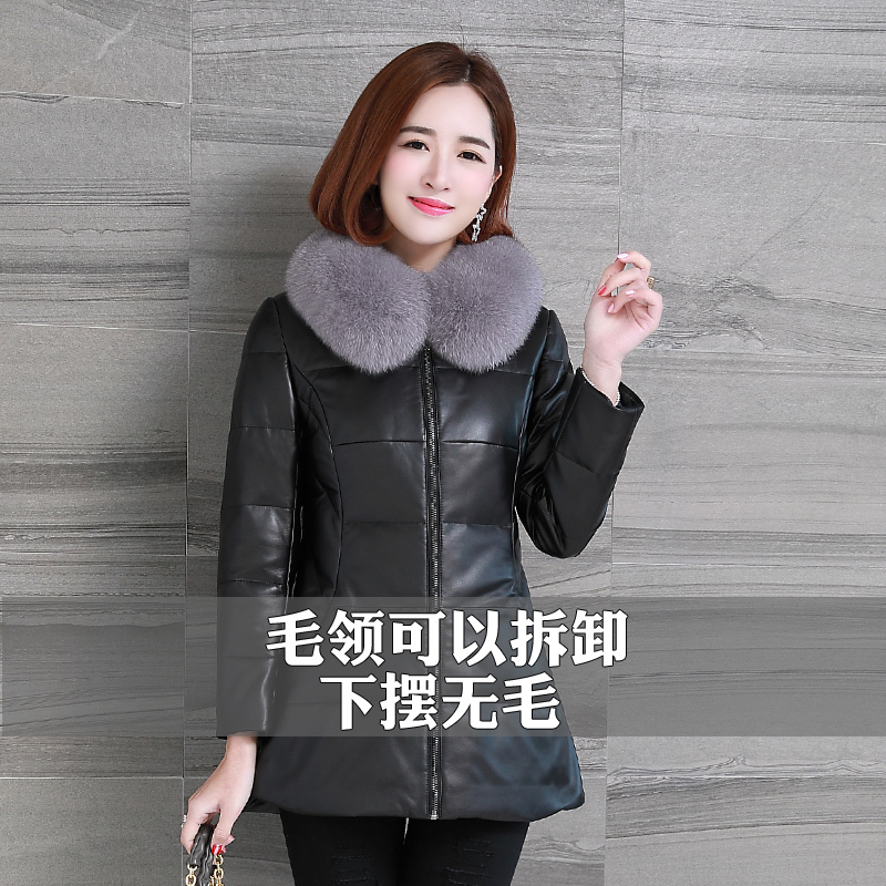 Winter Genuine Leather Jacket Women Duck Down Jacket Female Natural Fox Fur Collar Coat Real Sheepskin Coats Hiver HSH34