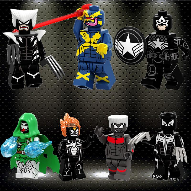 Ed Marvel Super Heroes Figures Venom Doctor Doom Ghost Rider Colossus Wolverine Cyclops Building Blocks Boys Toys PG8187