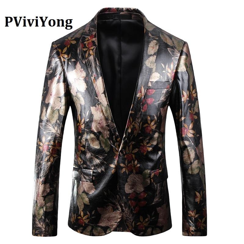 PViviYong Brand 2019 High Quality Suit Top For Men, Men Blazer British Style Party Suit Men Slim Fit Suit Jacket Men Coat  5003